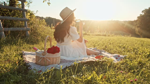 SLOW MOTION Young woman drinking wine in nature on sunny day Slow motion steadicam shot of a young woman drinking wine on picnic blanket in nature on sunny day. picnic stock videos & royalty-free footage
