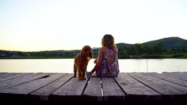 junge frau genießen sonnenuntergang am see mit ihrem hund - hundesitter stock-videos und b-roll-filmmaterial
