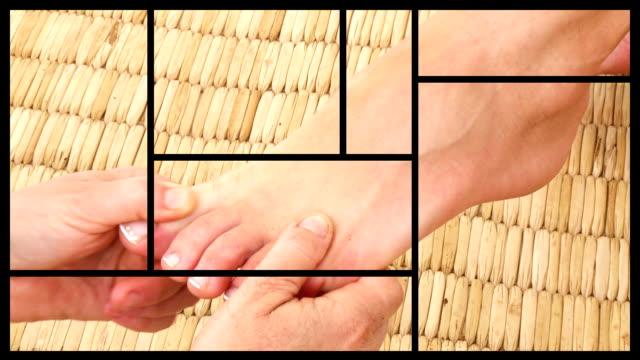 Young woman enjoying a foot massage video