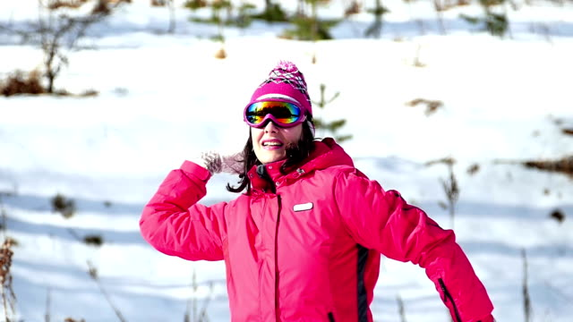 Young Woman Enjoys in the Winter on a Mountain in Slow Motion video
