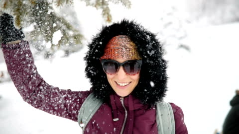 Young Woman Enjoys Snowy Winter Day Young Woman Having Fun Outdoor on Snowy Winter Day extreme terrain stock videos & royalty-free footage