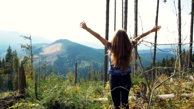 Young woman feeling victorious victoriously outstretching arms up in the air Young woman feeling victorious victoriously outstretching arms up in the air in human back stock videos & royalty-free footage