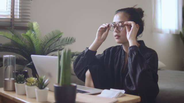 young woman freelancer working home - new normal video stock e b–roll