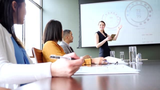 Young woman gives presentation during business meeting
