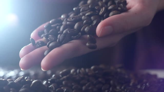 young woman hands pouring coffee grains in slow motions closeup
