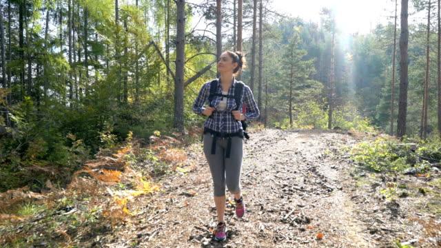 Jovem e mulher caminhadas na floresta - vídeo
