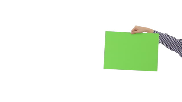 Young woman holding a green blank signboard.
