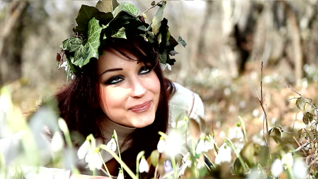 Young woman in a crown of ivy video