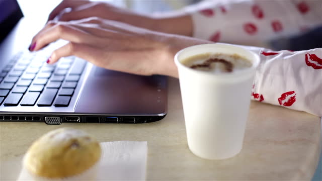 Young woman in cafe chat online video