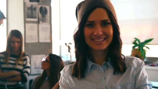 Young woman in the modern office video