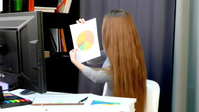 eine junge frau - im büro ist online-chat mit dem führer, das mädchen ist schuld, sorry, gerechtfertigt - unterordnung stock-videos und b-roll-filmmaterial