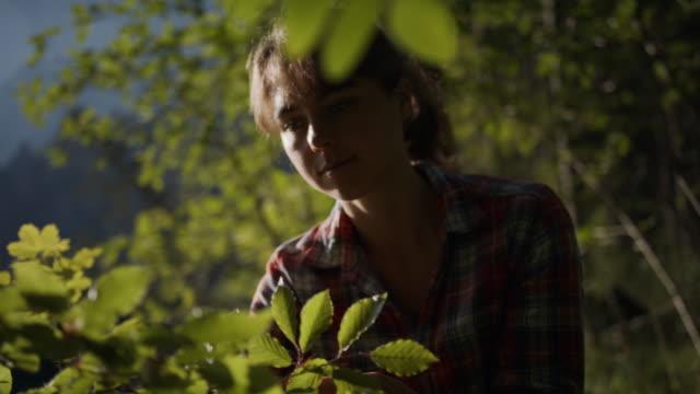 vidéos et rushes de jeune femme inspectant des feuilles sur des arbres dans les bois - évasion du réel