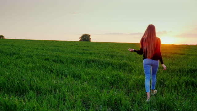 A young woman is walking along a beautiful green meadow at sunset. Back view video