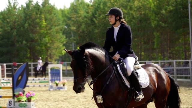 en ung kvinna jockey på hästen utför på rid sport tävlingar - häst tävling bildbanksvideor och videomaterial från bakom kulisserna