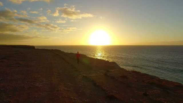 AERIAL: Young woman jogging at the edge of ocean cliff video