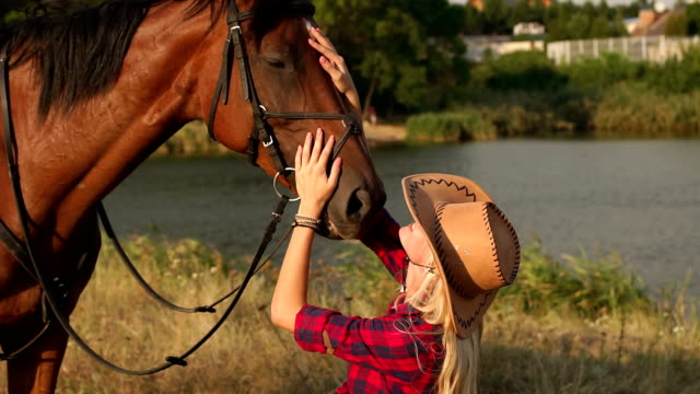young woman kissing horse in evening sunset light. - cowgirl video stock e b–roll