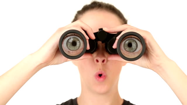 Young Woman Looking Through Binoculars video