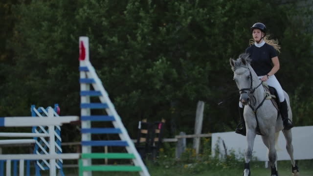Young woman on horse jumping over obstacles. Slow motion. Training horses before the competition. Horse Racing. Horse breeding. Farm. Horseman. Rider, equestrian, jockey.