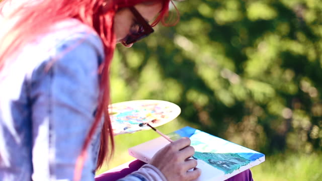 Young woman painting landscape in open air video