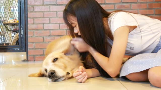 若い女性が、犬 ビデオ