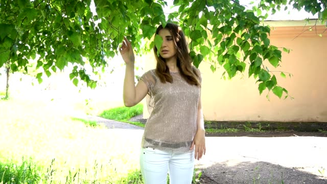 vídeos de stock, filmes e b-roll de jovem mulher posando em um parque perto de árvore de vidoeiro - bétula