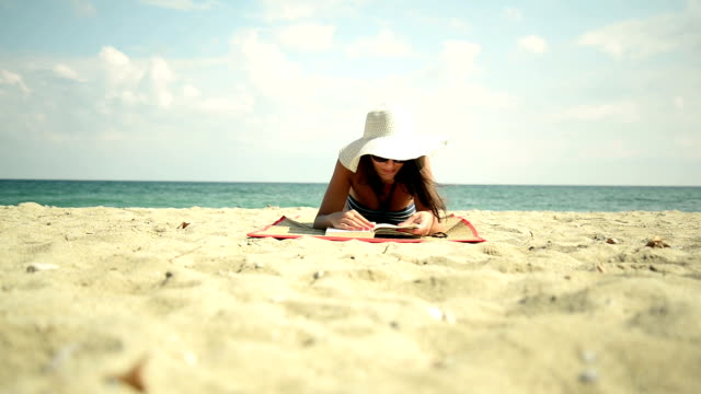 Young woman reading. video