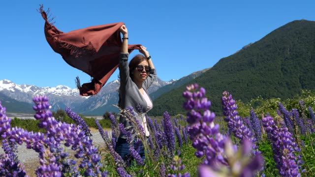 Young woman resting at Lupine Field video