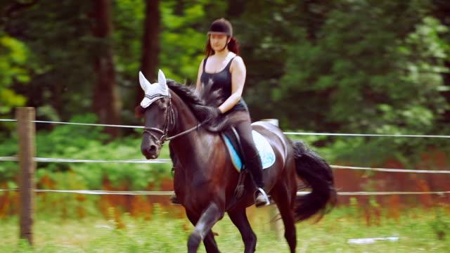 Jeune femme à cheval au ranch de chevaux - Vidéo