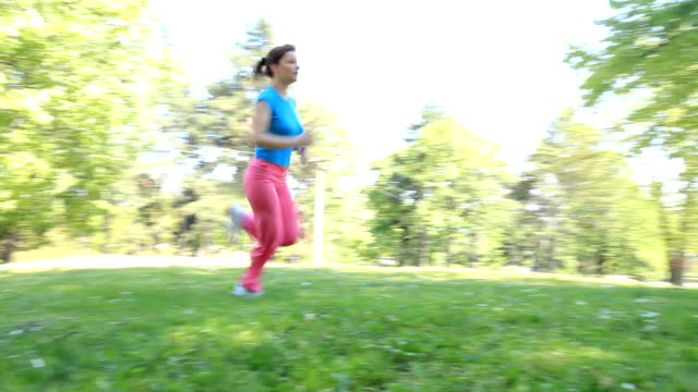 Young woman running outdoor. video