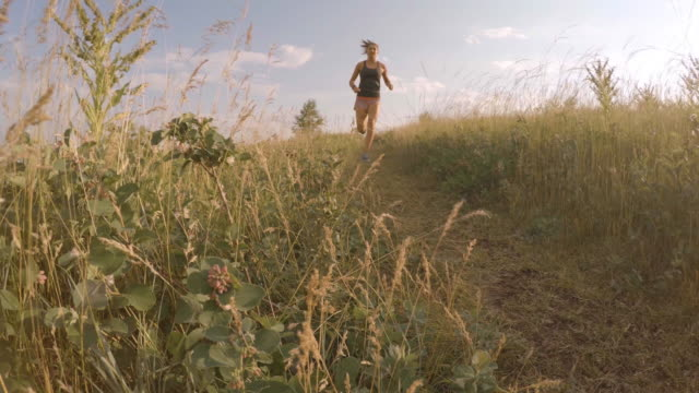 Young woman runs along grassland trail  less than 10 seconds stock videos & royalty-free footage