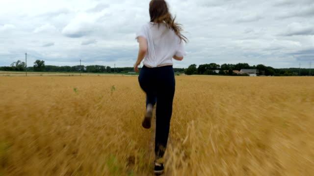Young Woman Runs Through a Golden Grass Field video