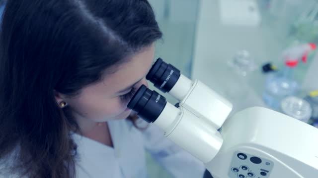 junge frau-wissenschaftler auf der suche auf mikroskop im labor, slow-motion - wissenschaftlerin stock-videos und b-roll-filmmaterial