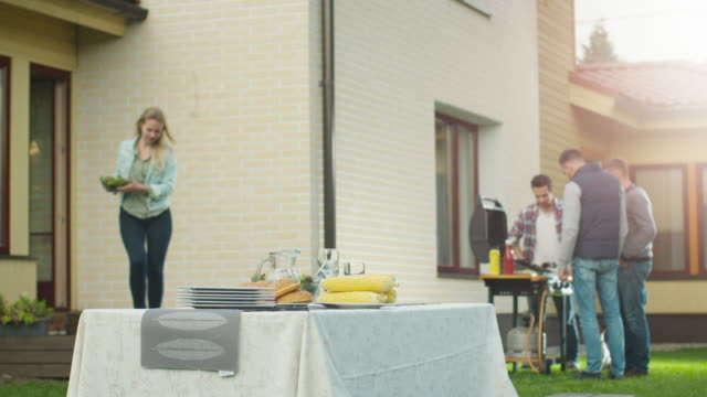 young woman setting the table on backyard. - family trees stock videos and b-roll footage