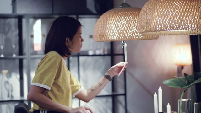young woman shopping in furniture store - dekoracja filmów i materiałów b-roll