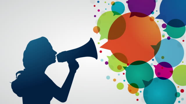 Young woman shouting with megaphone Young woman shouting with megaphone and animated colourful speech bubbles megaphone stock videos & royalty-free footage