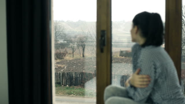 Young woman sits by a window. video