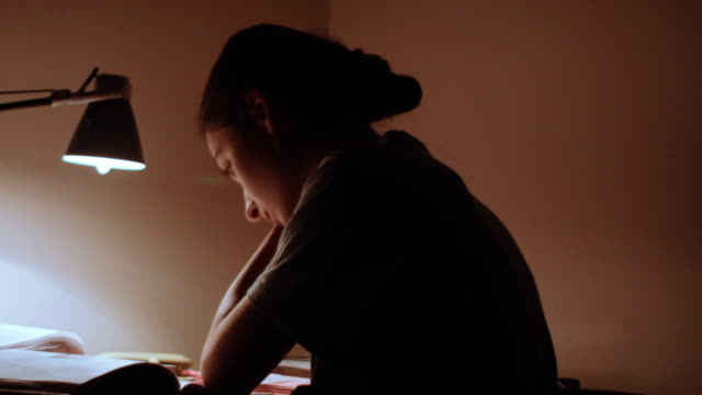 Young woman sitting at the table and work video