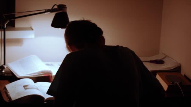 Mujer joven sentada en la mesa y el trabajo - vídeo
