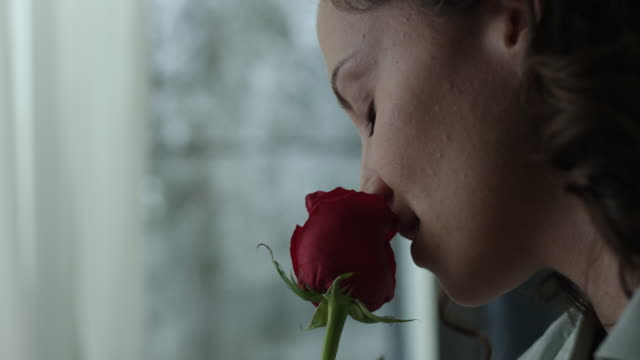 嗅ぐ赤いバラの若い女性 - 芳香点の映像素材/bロール