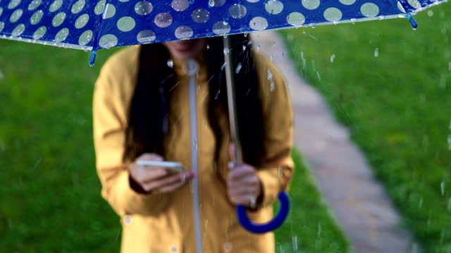 SLO MO Young woman smiling while using her smartphone in the rain