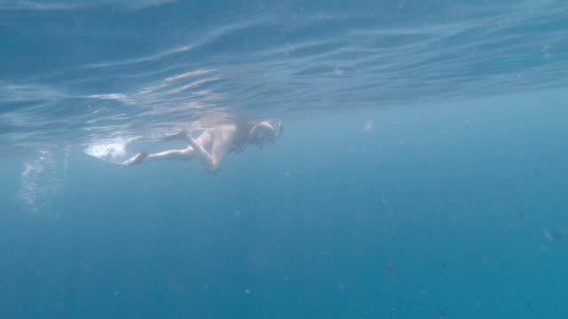 Video Young woman snorkeling in a paradisiac sea at Maldives
