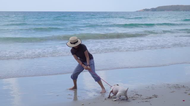 vídeos de stock e filmes b-roll de young woman struggling with jrt on sunny beach - puxar