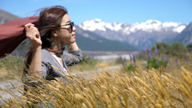 Young woman take a breath video