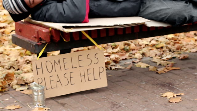 Young woman throwing money in can, helping homeless poor frozen man, charity video