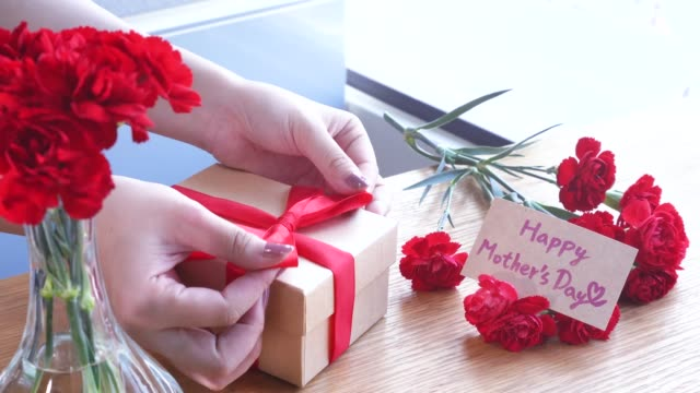 Young woman tie a bow for packaging handmade beautiful gift box for mothers day gift at home with red carnations bouquet isolated on wooden table, close up closeup concept Young woman tie a bow for packaging handmade beautiful gift box for mothers day gift at home with red carnations bouquet isolated on wooden table, close up closeup concept mothers day stock videos & royalty-free footage