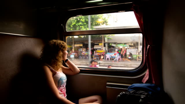 Young Woman traveling in Train video