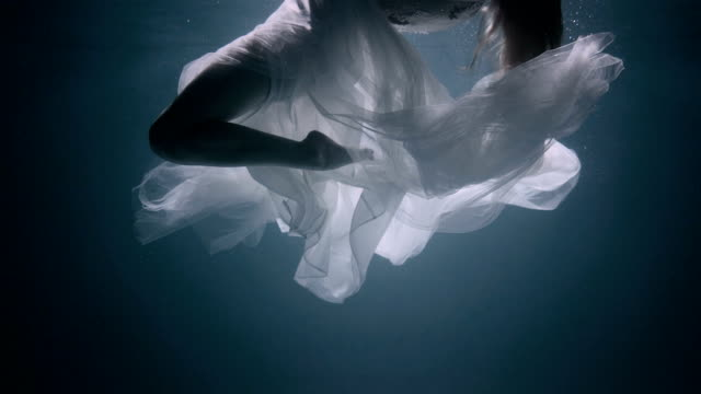 Young woman under the water, she is wearing a white dress. Fairy women underwater dress stock videos & royalty-free footage