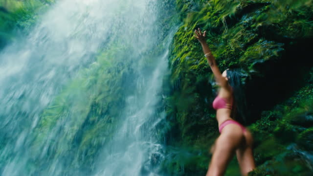 Video Young Woman Under Waterfall