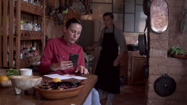 young woman using a smart phone to design her menu or create a shopping list - cultura latino americana video stock e b–roll