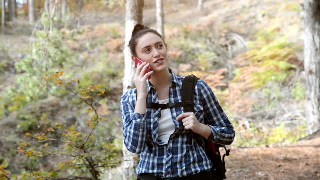 young woman using a smartphone in the forest - woman portrait forest video stock e b–roll